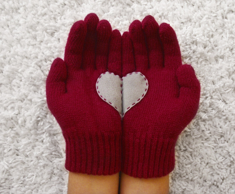 Heart Gloves, Dark Red Gloves with Grey Felt Heart