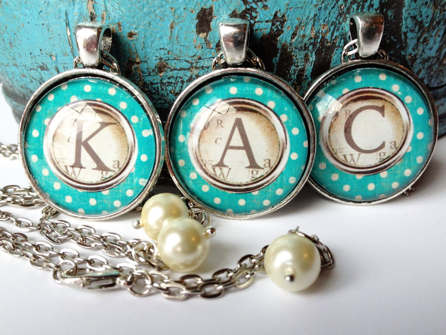 Custom Monogram Letter Glass Type Writer Necklace- you pick the Letter