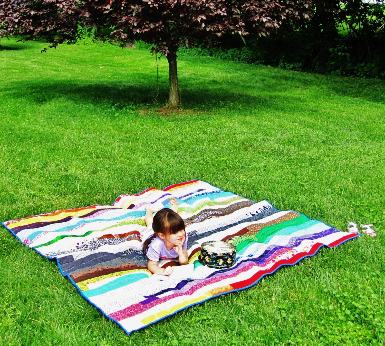 My Eclectic Family Quilt / full size coverlet/ throw/PICNIC blanket - EnchantedBirk