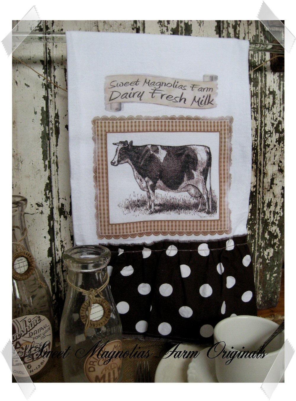"""Мешок муки сельский дом KitchenTowel """"Молочные свежего молока"""" .. для вашего дома, сельский дом или коттедж"""