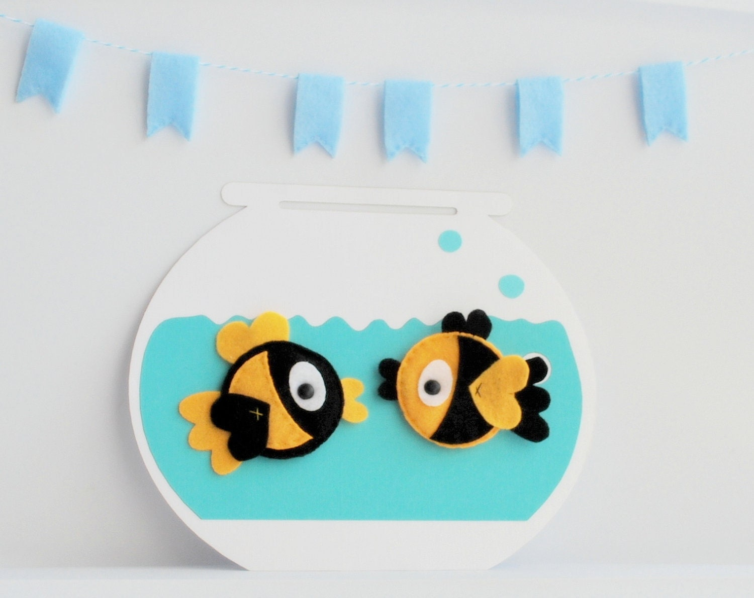 MOVING SALE 2 Felt Fish Magnets - 2   Eco-Friendly  Black and Canary Yellow Fish Magnets for your fridge