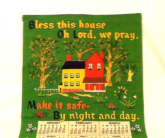 Vintage 1978 Colorful Tea Towel Linen Calendar with Blessing Prayer