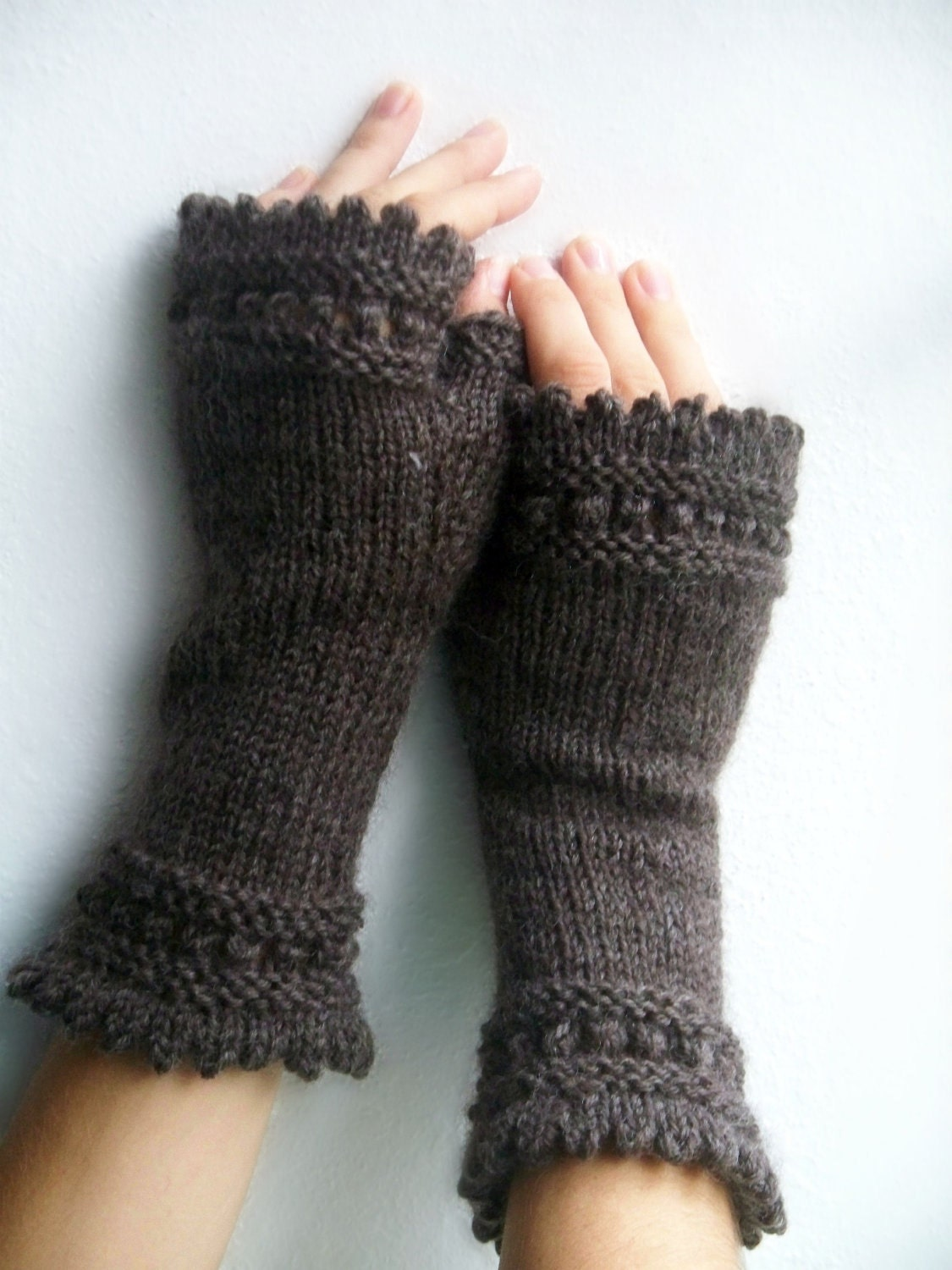 Brown Knit Fingerless Gloves - PurlsandIvy