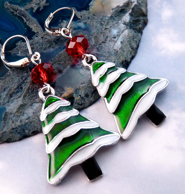 Christmas Earrings Enamel Earrings Christmas Tree