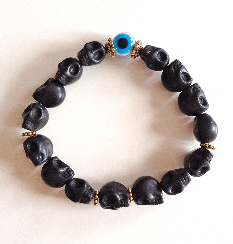 Black Skull & Evil Eye Bracelet