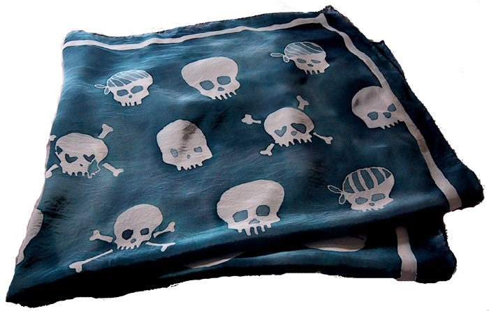 hand painted silk skull scarf - large square - navy blue
