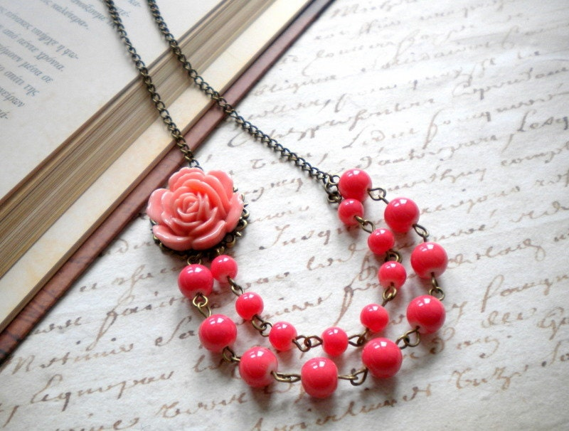Pink Coral Necklace Two Strand Flower Necklace Rose Bib Necklace Flower Jewelry