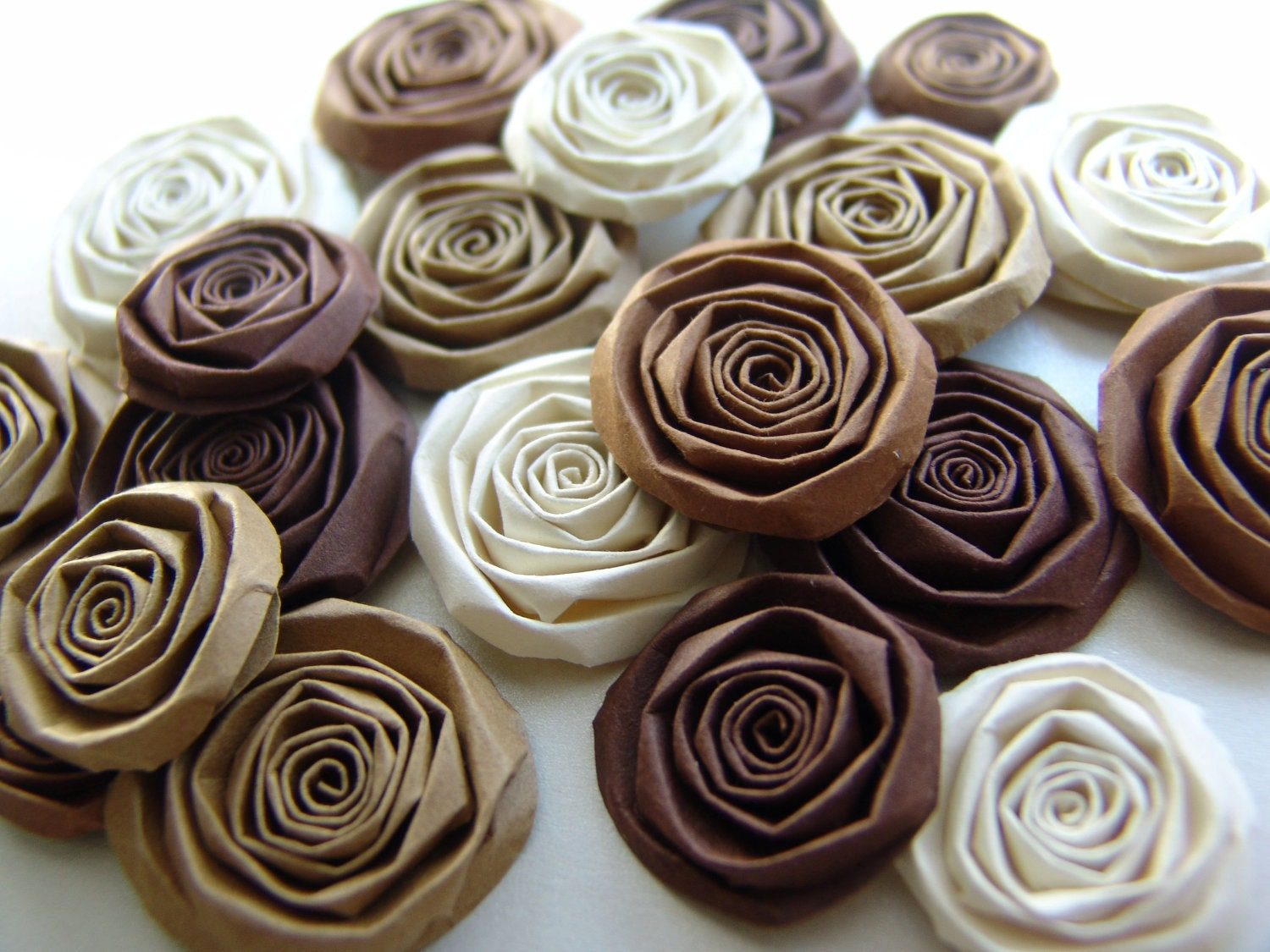 Coffee and cream handmade paper flowers SET of 20 roses shades of brown and cream mocha blooms i love this - ilovethis