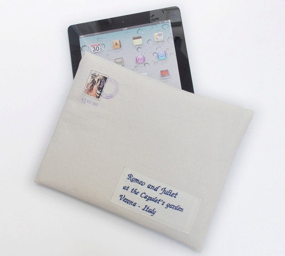 iPad Case personalized, PADDED, iPad mini, iPad Cover, envelope, italian postage, laptop sleeve envelope