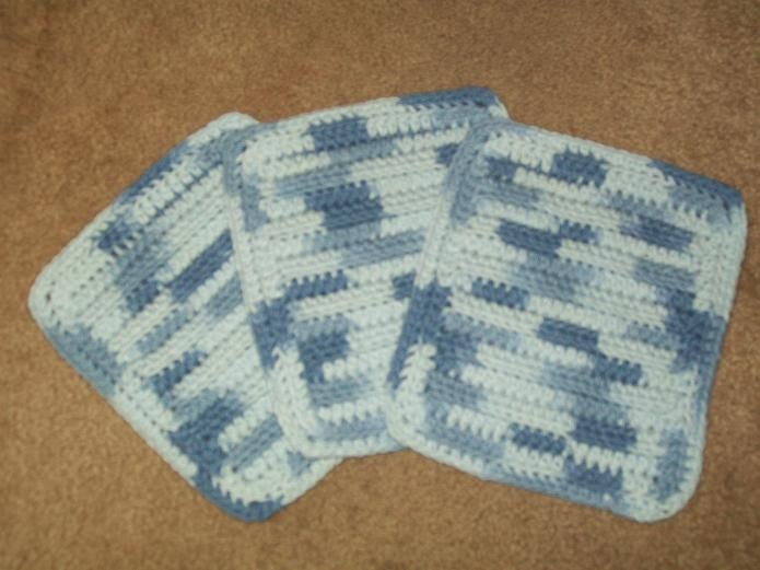Cotton Crocheted Washcloths  Set of 3 in Billowing Blues