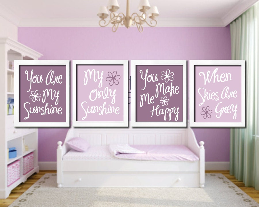 Light Purple Lavender - You Are My Sunshine 8x10 Set of 4 Wall Art Decor Prints Poster Nursery Child Kid Room Typography - SunshinePrinting