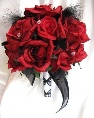 Pebble Beach Wedding On Theme Bouquet Bridal Flowers Red Black