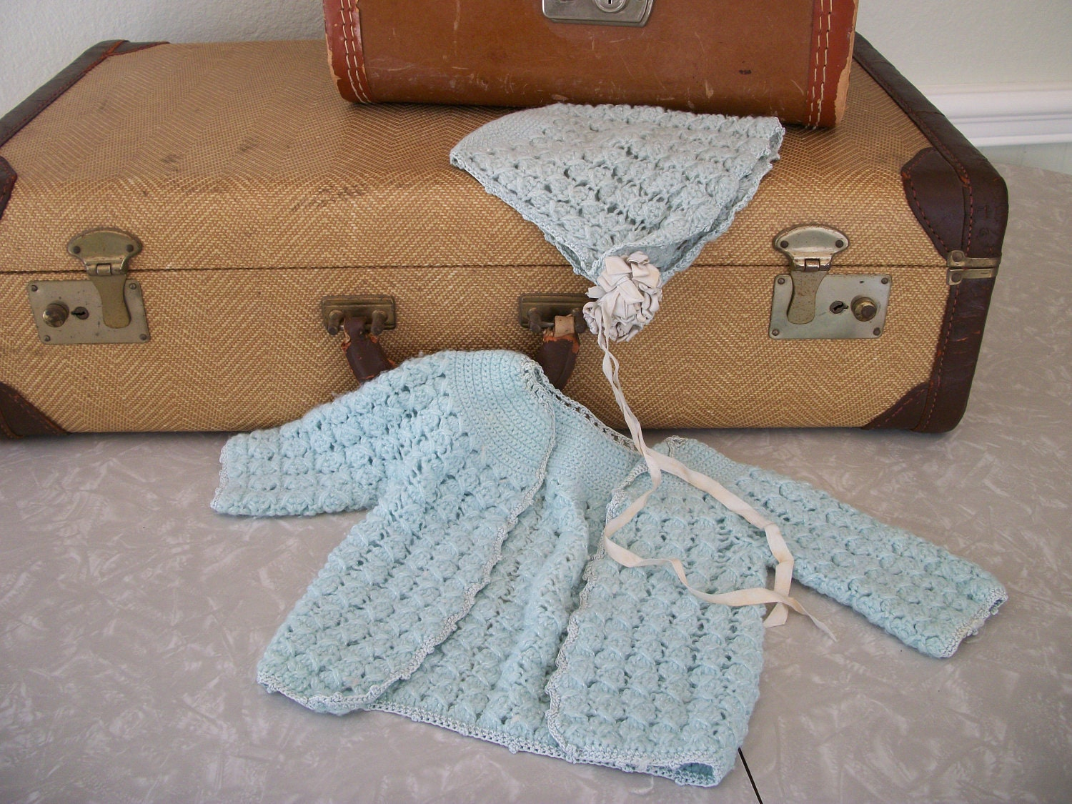 Vintage Hand Crocheted Baby Sweater and Bonnet Set in Blue Baby Doll Sweater Set - TwoCrazyHearts
