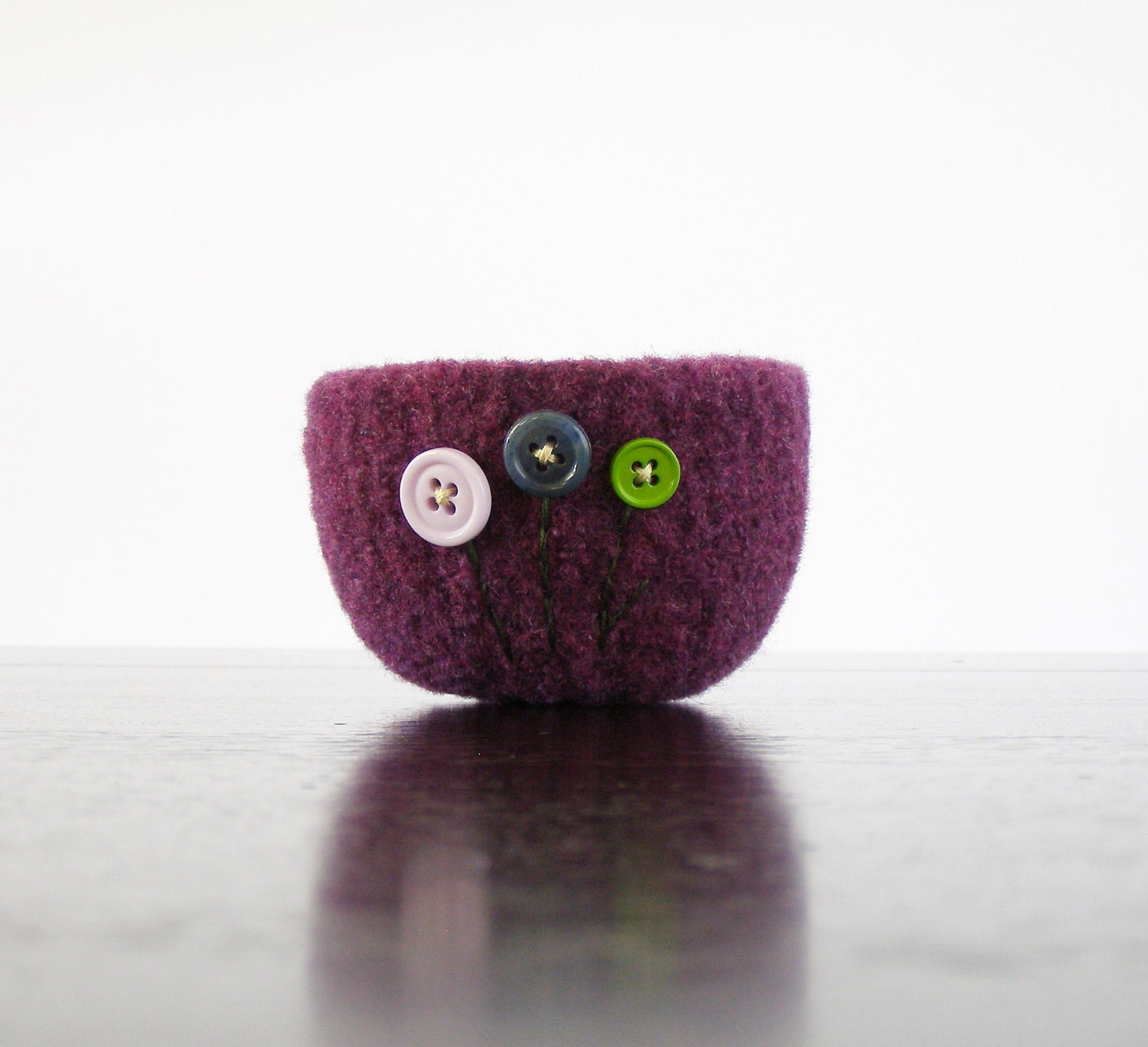 felted wool bowl -  plum purple wool felt bowl with lavender, blue, and green flowers - ring holder, desk organizer, gifts under 20 25 - theFelterie