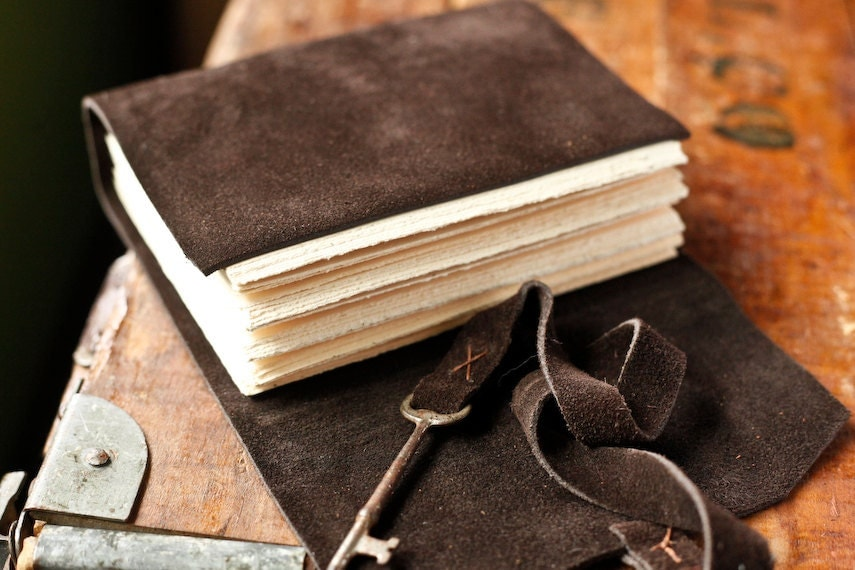 Leather Journal with Skeleton Key Closure - Brown Suede Journal