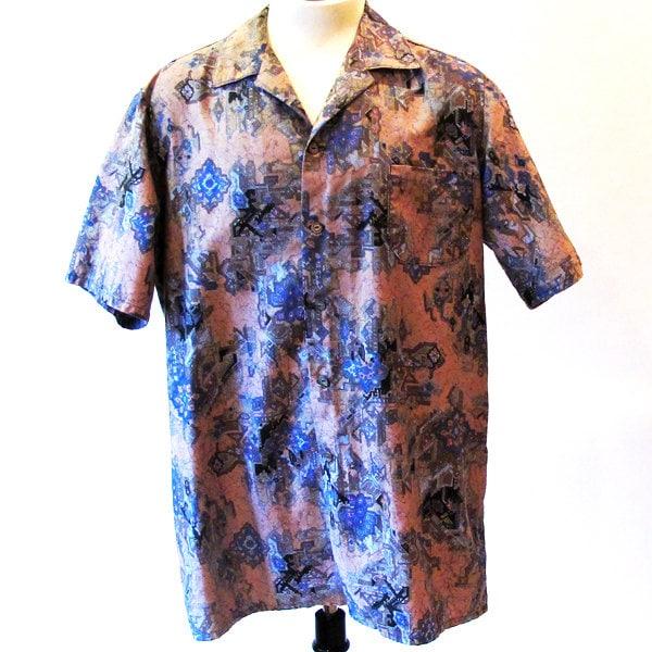 Mens vintage 60s shirt / 1960s print shirt  XL mens vintage fashion - StraylightVintage