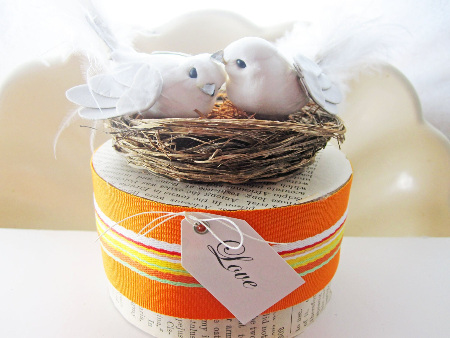 Fanciful and Unique Handmade Love Bird Wedding Cake Topper - TheBohoBride