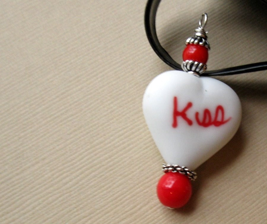 red, white heart, silver handmade pendant - First Kiss