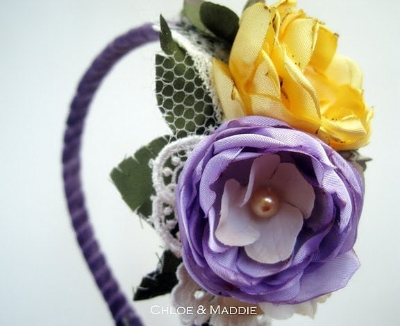 SHAYLA purple yellow and gray bouquet style headband For weddings special