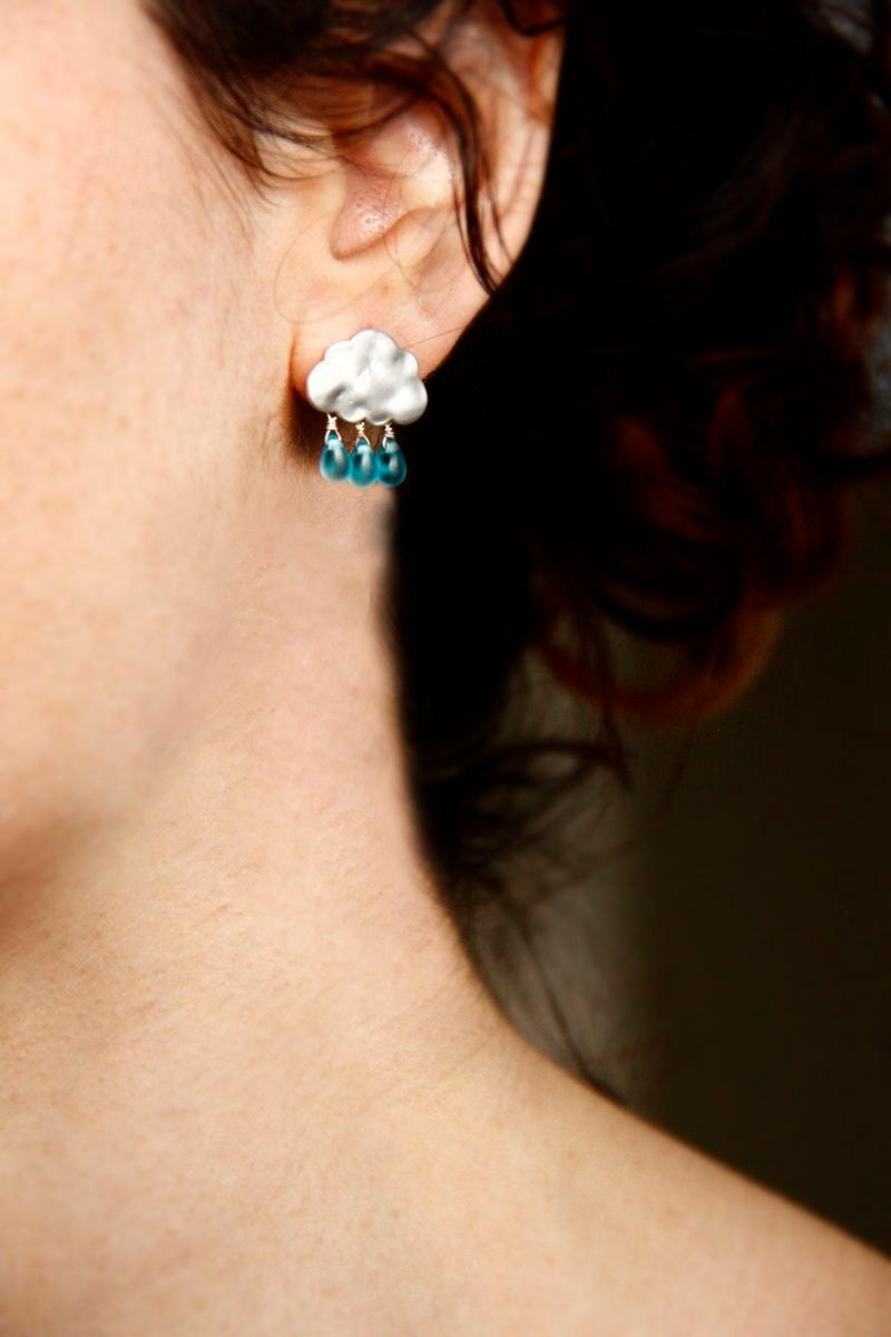 SUMMER RAIN with blue drops -  cloud earrings for winter gift