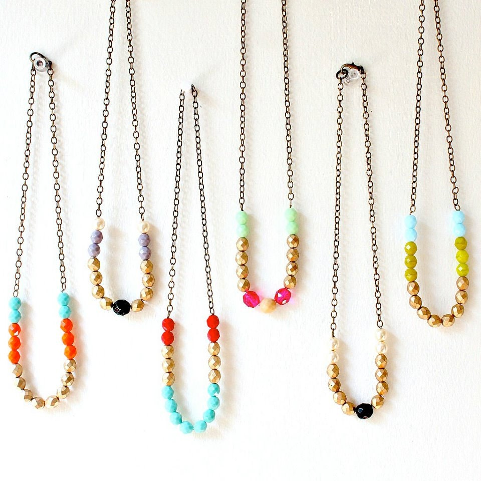 Colorful Chunky Bead Necklace-Choose One- NOW in SIlver too