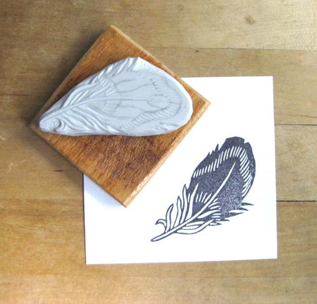 Striped Feather - Hand Carved Stamp