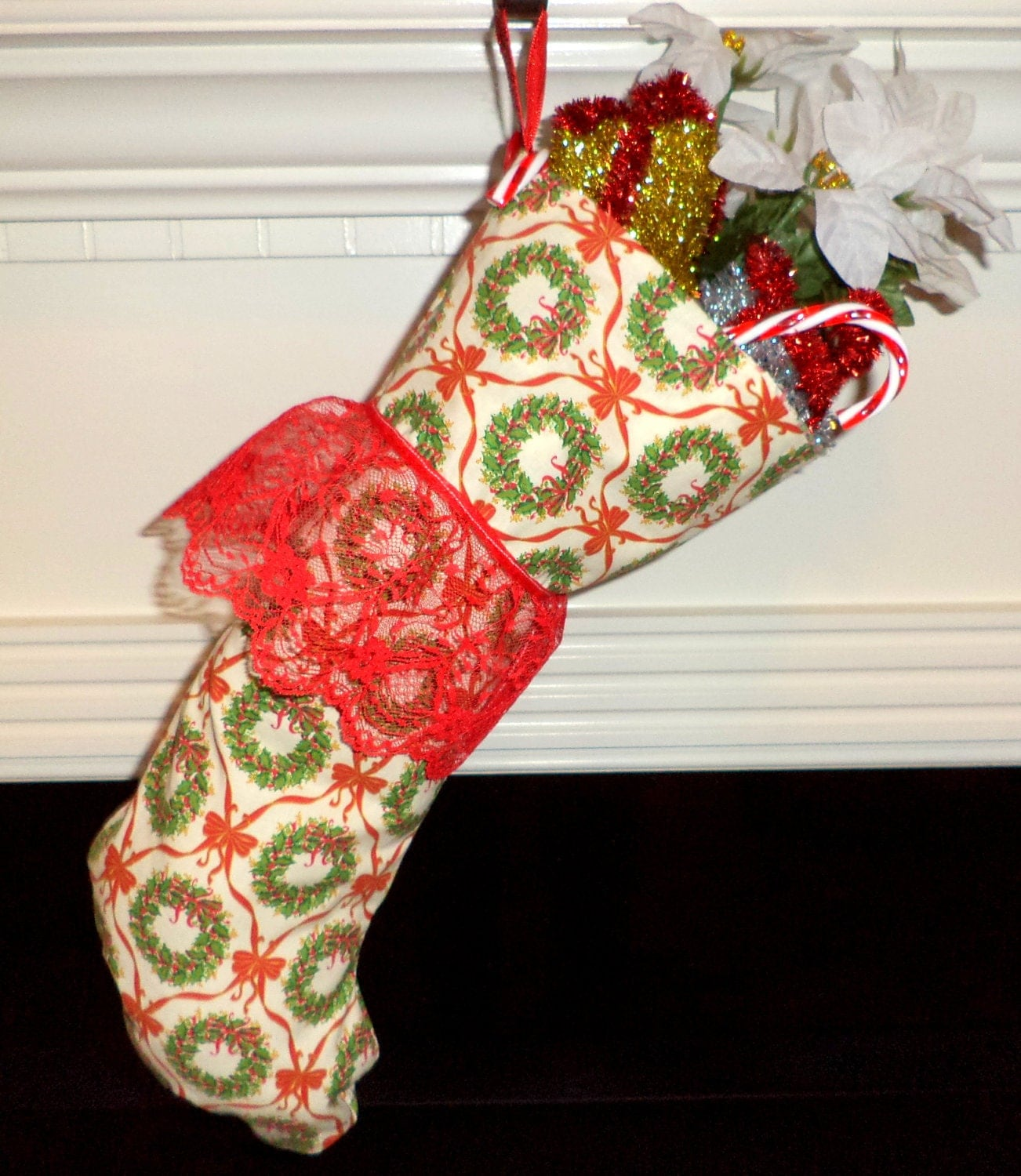 Country Christmas Stocking. Handmade green and red wreath pattern - BeaSewn