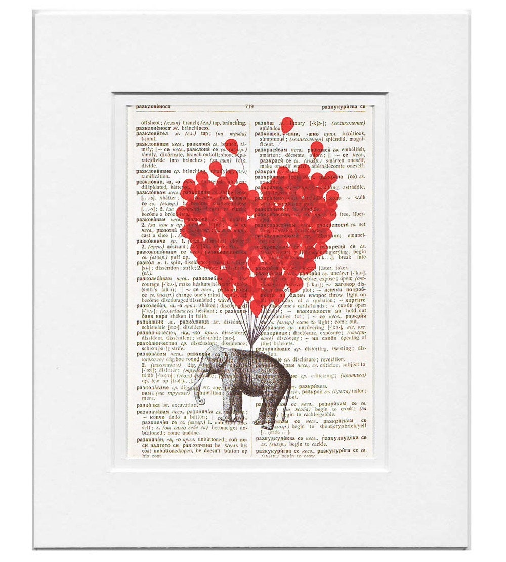 LOVE Carries All - ORIGINAL ARTWORK  printed on Repurposed Vintage Dictionary page- Free Domestic Shipping