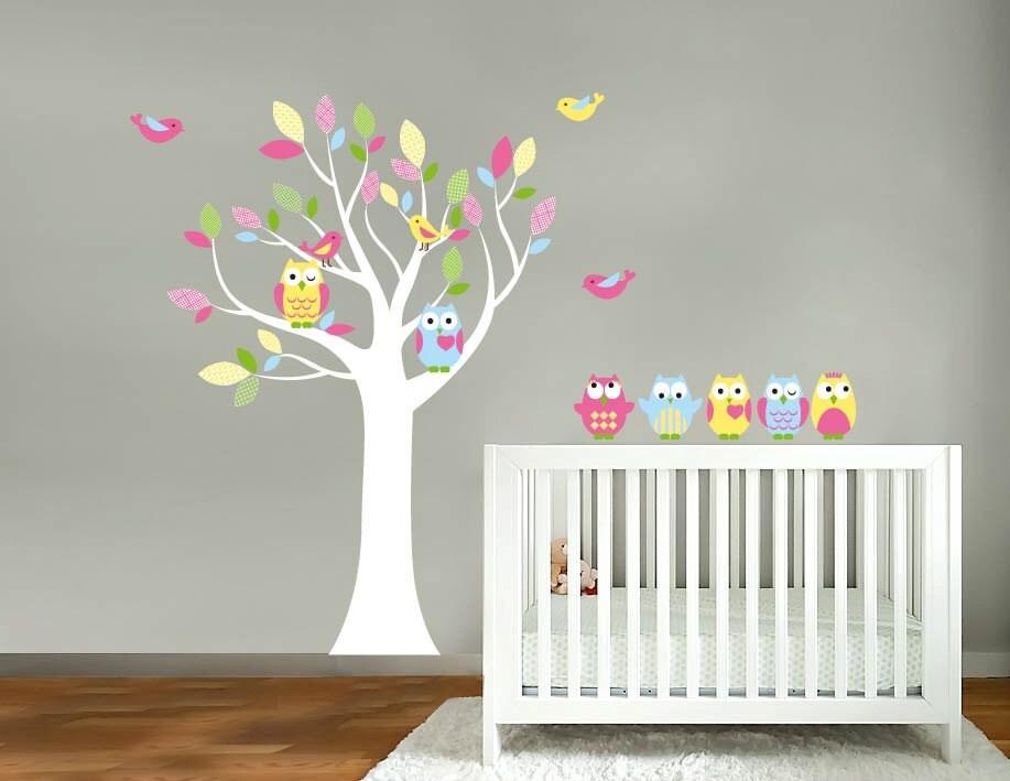 kids baum vinyl wandtattoo mit v geln eulen und von. Black Bedroom Furniture Sets. Home Design Ideas
