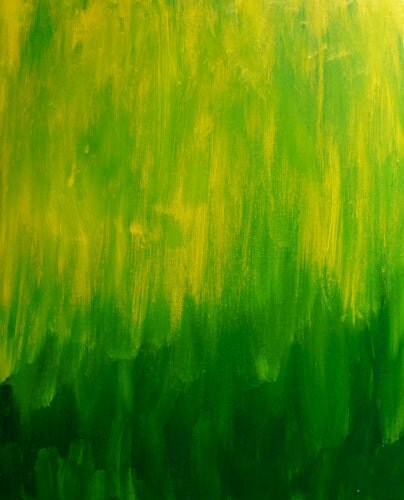 "Colorful Canvas Painting- 16x20 ""Jungle""- green, yellow art - Apartment302"