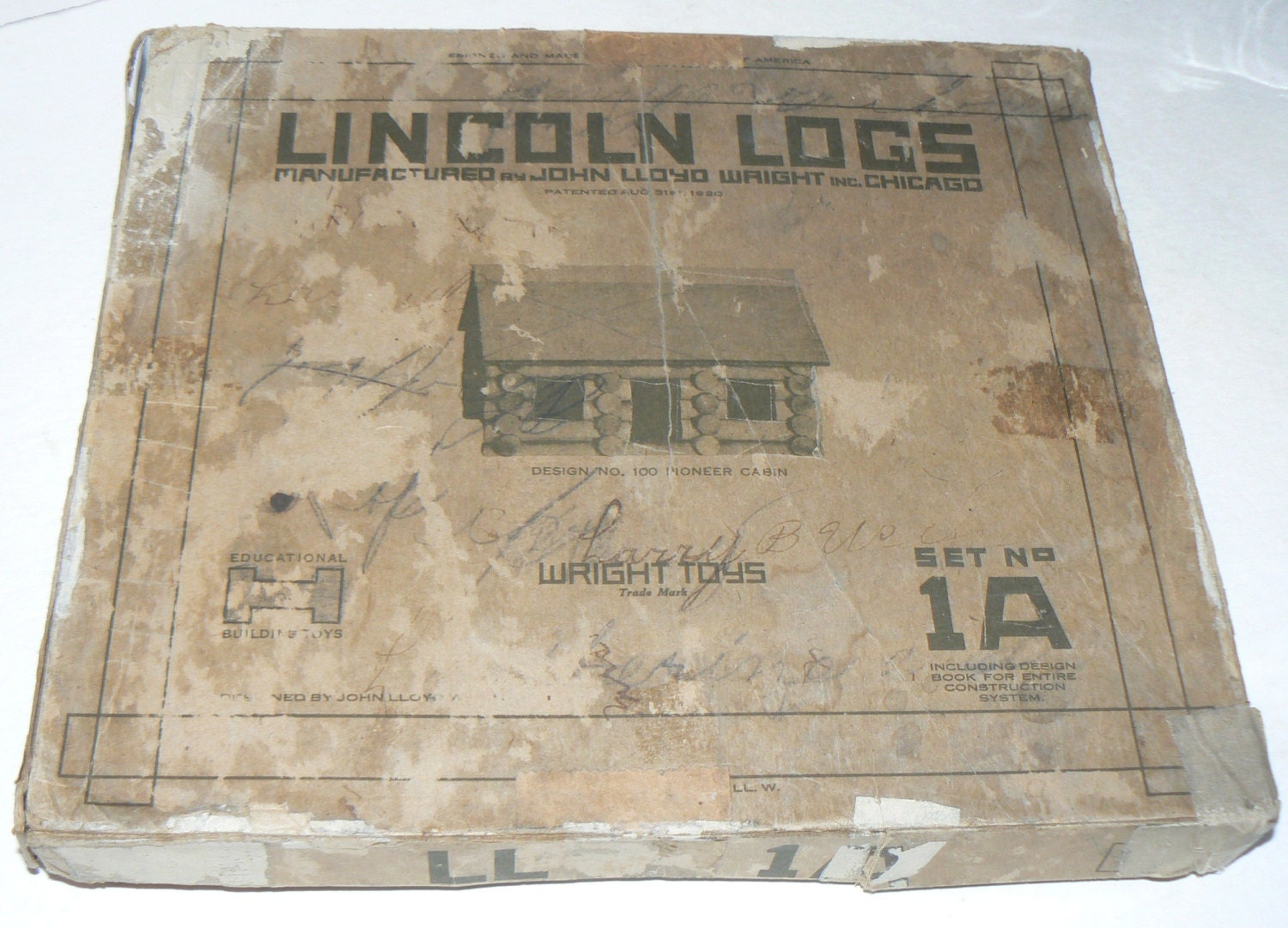 Antique 1920's LINCOLN LOG 1A Set in Box JL Wright Toys Building Contest Sheet - KrauseHaus