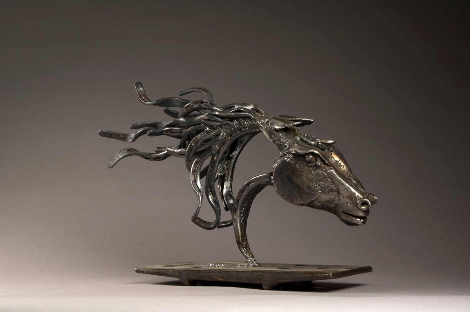 Cowboy Made Blacksmithed Steel Wild Horse Sculpture - ArtOfTheHorse