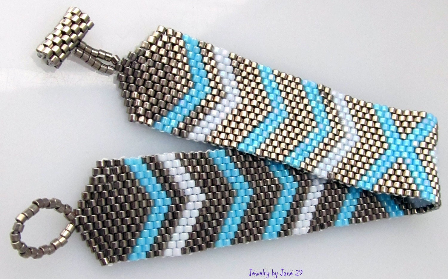 Silver and Blue Peyote Stitch Bracelet