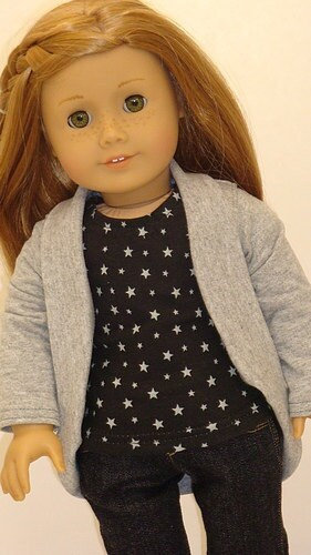 Skinny Jeans, Star Print T-shirt And Slouch Cardigan For American Girl Or Similar 18-Inch Dolls