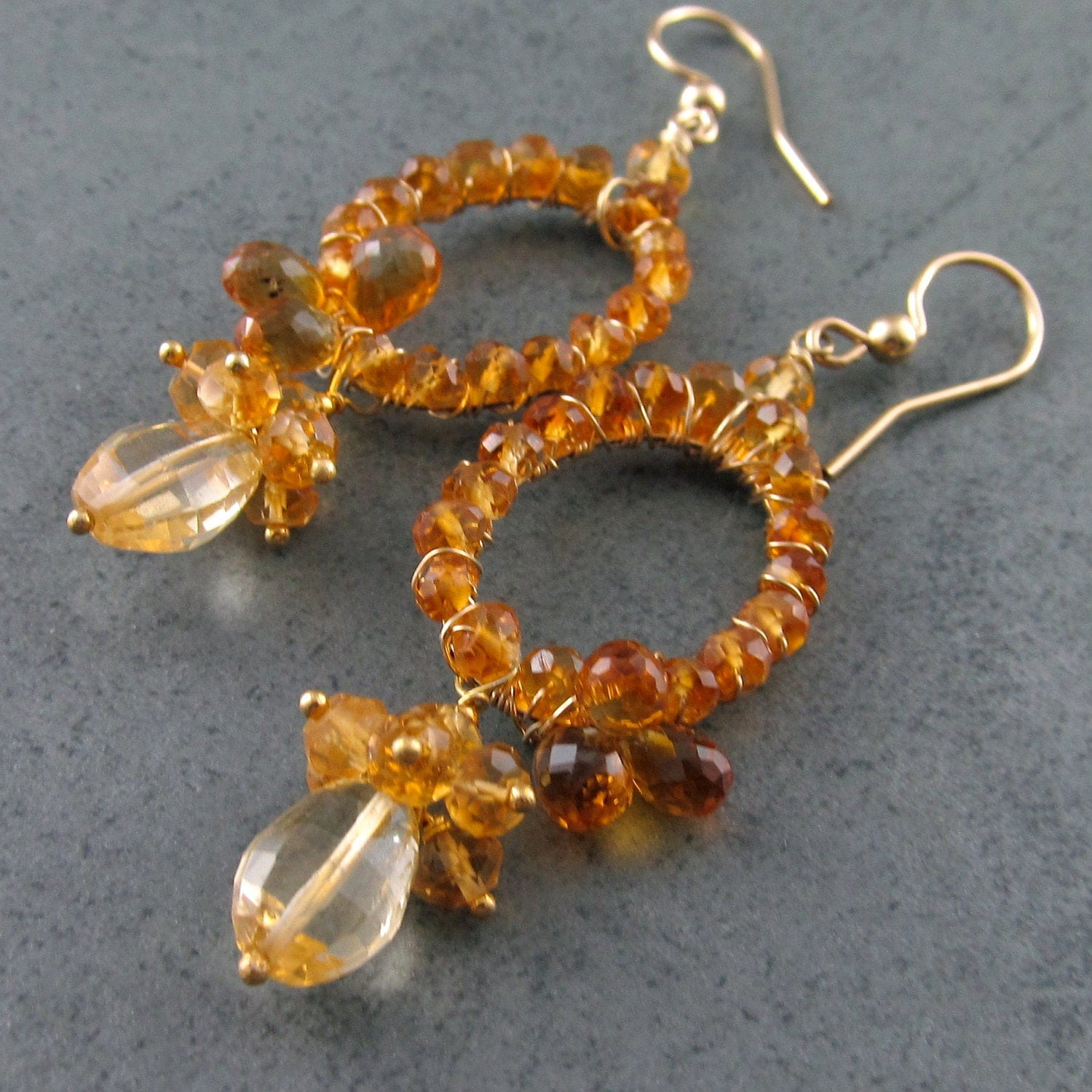 Madeira Citrine earrings, handmade14k gold filled earrings- Here Comes the Sun OOAK
