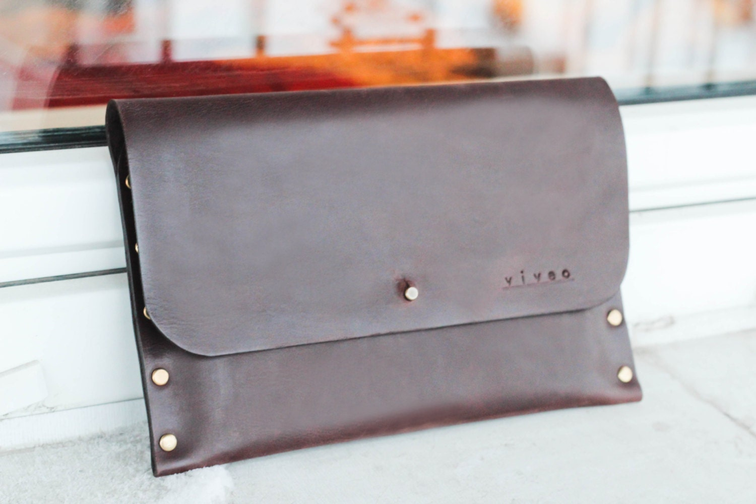 Personalized Leather ipad Mini / Galaxy Tab case. Waxed leather i pad envelope.