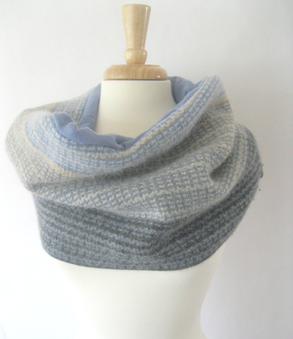 Wool Snood Infinity Scarf Reversible Cowl - Blue Cream and Gray Texture : Upcycled Recycled Repurposed Fall Fashion - SewEcological