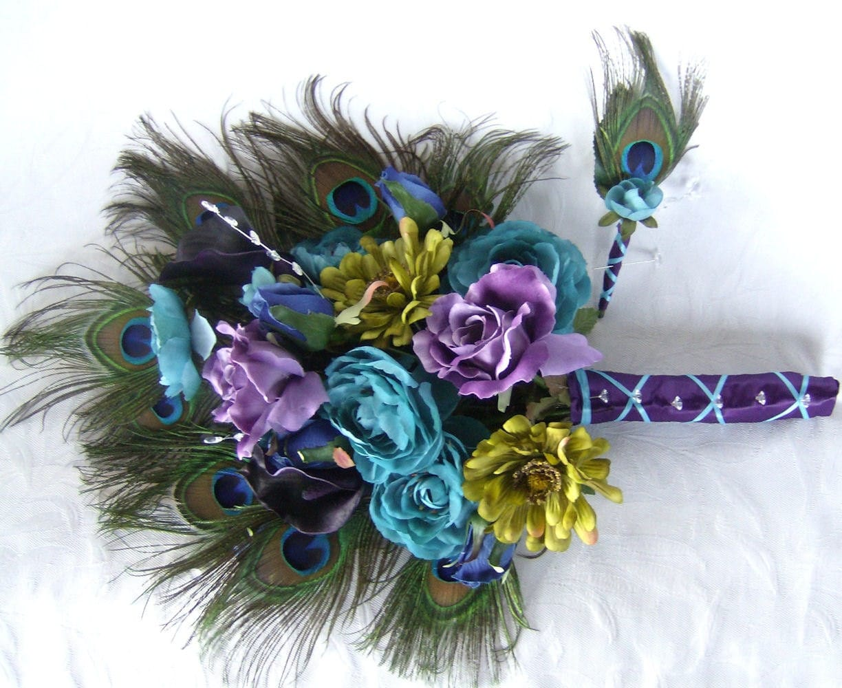 Wedding bouquet peacock feather bouquet turquoise purple eggplant green