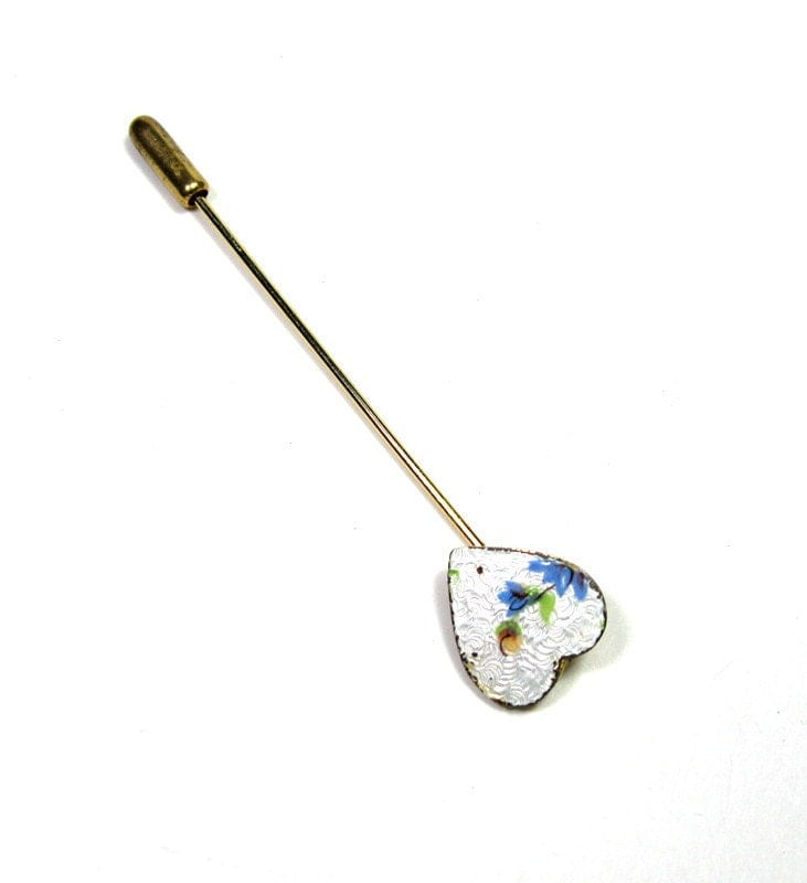 Vintage, Mad Men Style, Floral, Heart, Stick Pin