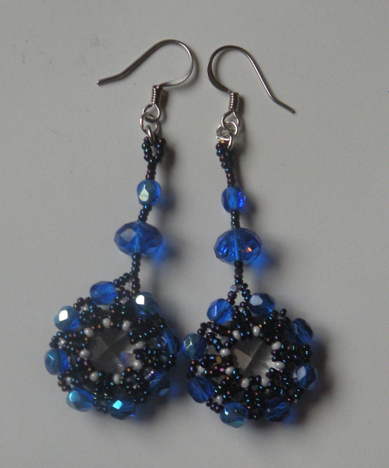 Blue Octagon Crystal Earrings with Rondelle Embellishment