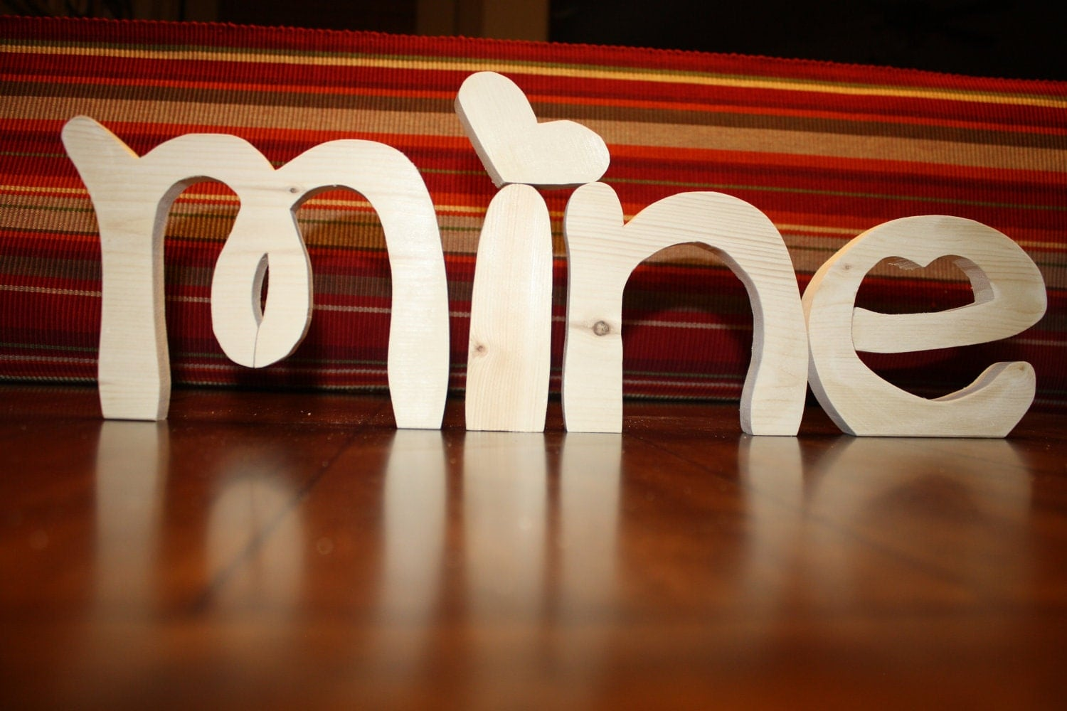 UNFINISHED  BE MINE wood letters for Valentine's Day