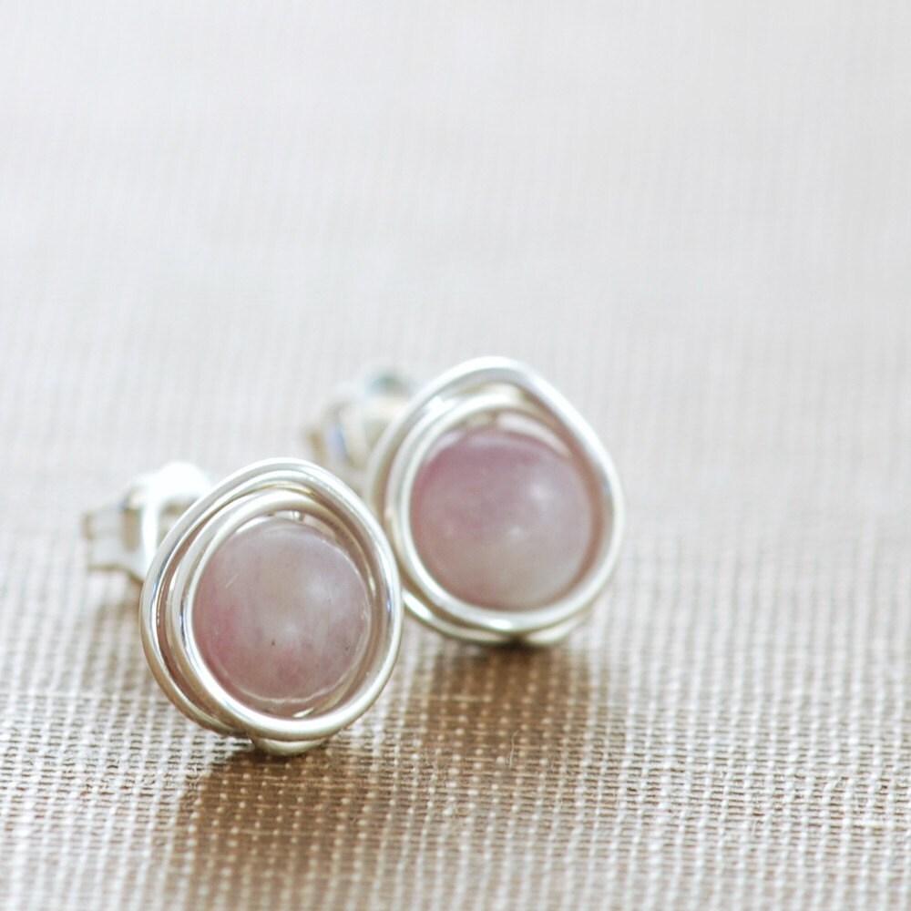 Pastel Post Earrings, Gemstone Lepidolite Sterling Silver Lavender Wire Wrapped Handmade, aubepine - aubepine