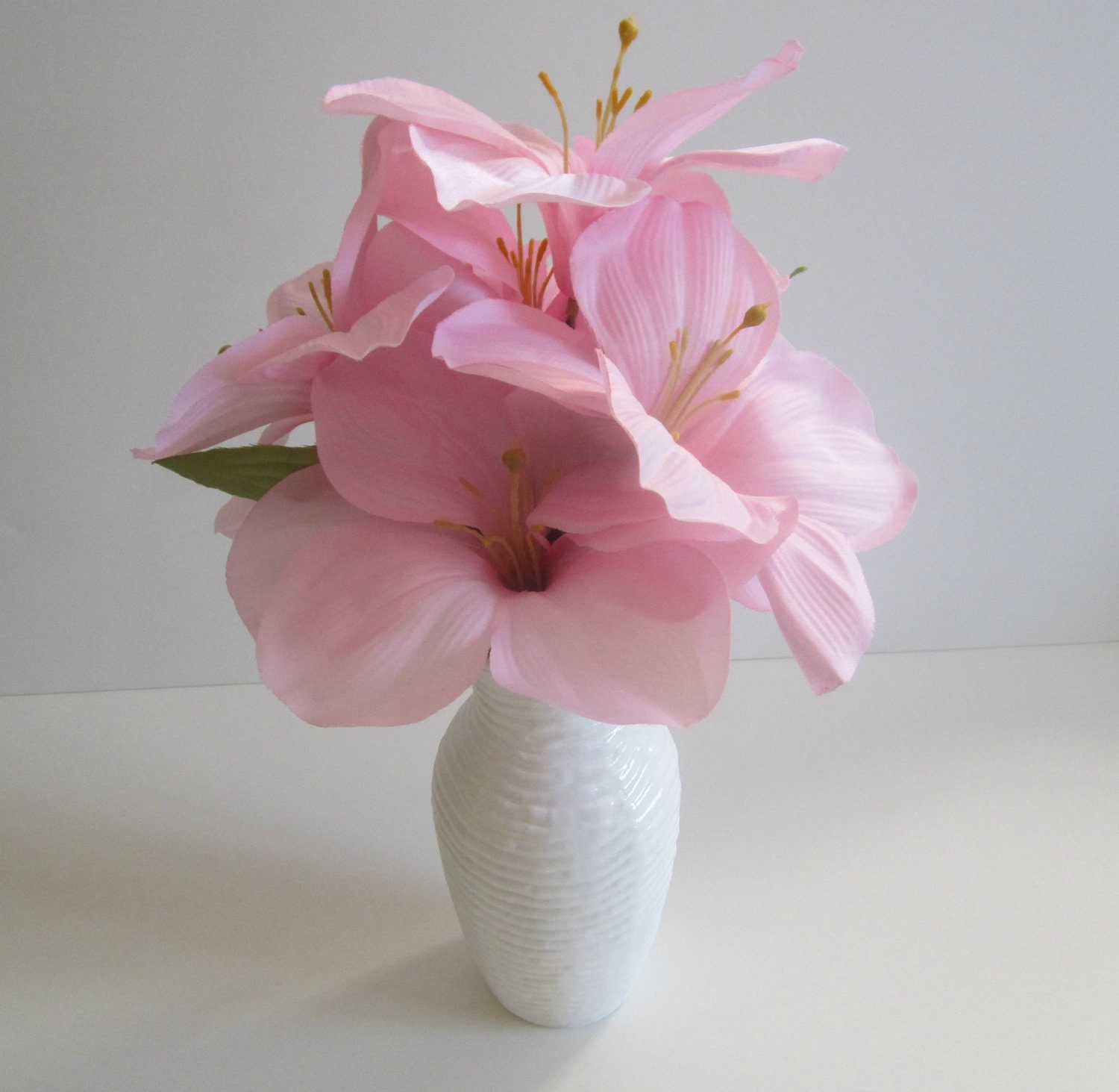 Silk Floral Arrangement Pink Amaryllis In Painted White Vase - IllusionCreations