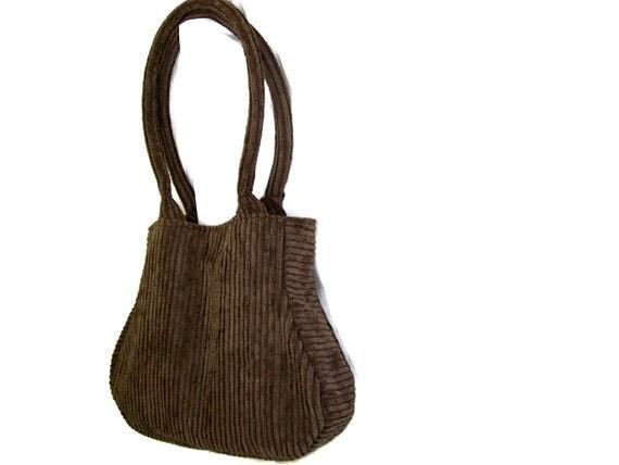 Dark Olive Green Chenille Handbag Purse Fat Bottom Bag
