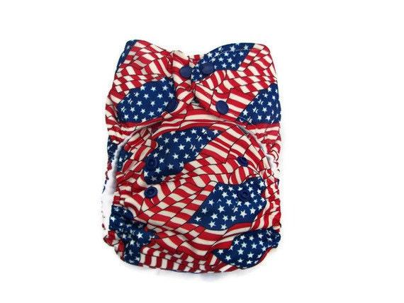 Stars & Stripes OS Pocket Diaper--Ready to Ship--FREE SHIPPING