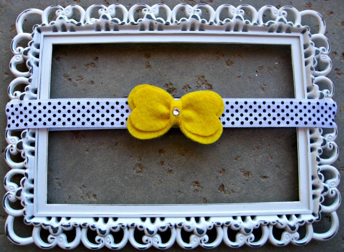 Yellow Bow Headband Baby Felt Bow Headband Kids Hair Accessory