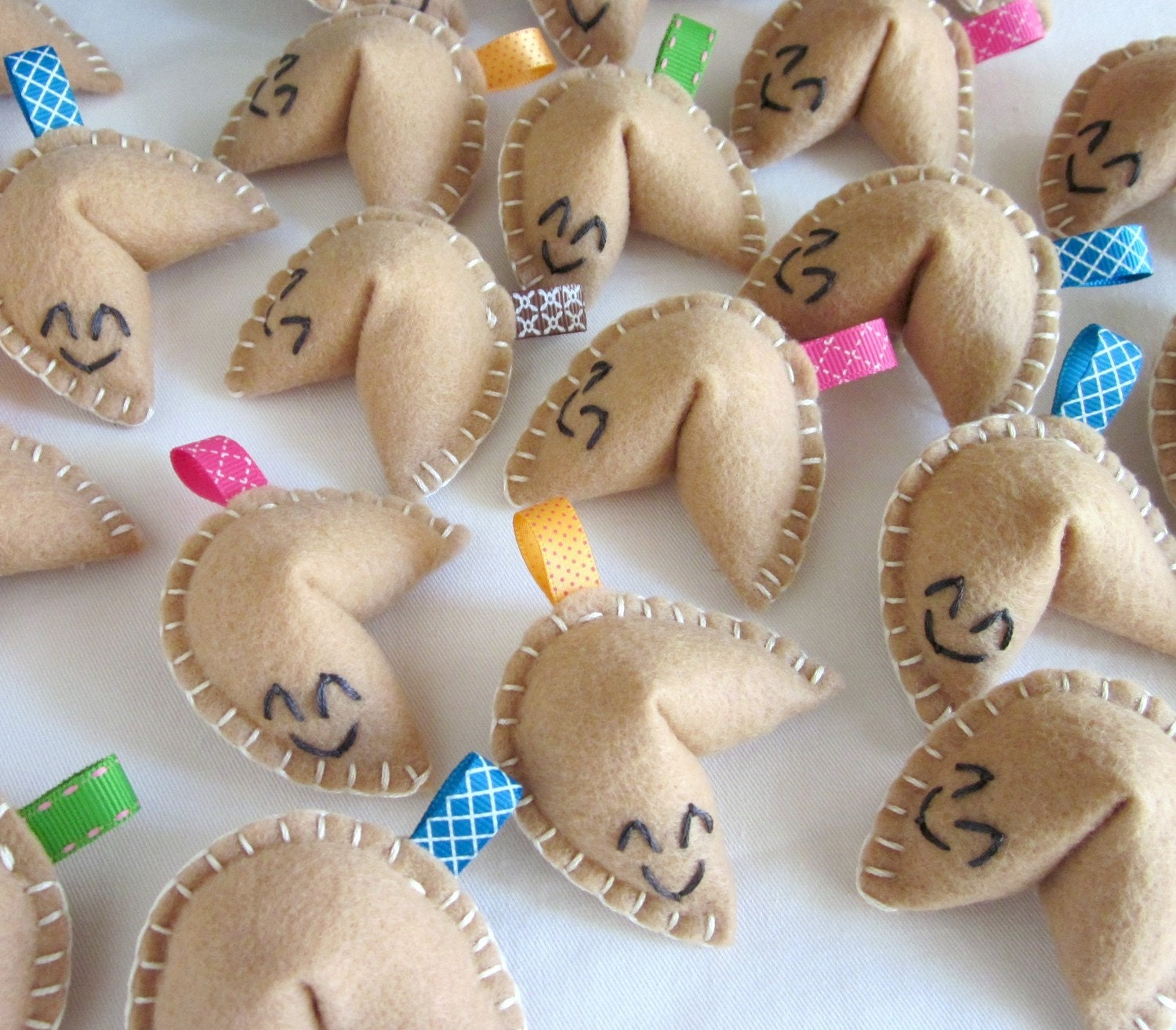WHOLESALE LOT of 20 Felt Fortune Cookies Embroidery Ribbon Cute