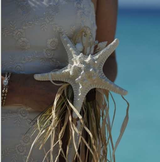 Sparkly Knobby Starfish Bridal Bouquet for Beach and Destination Weddings