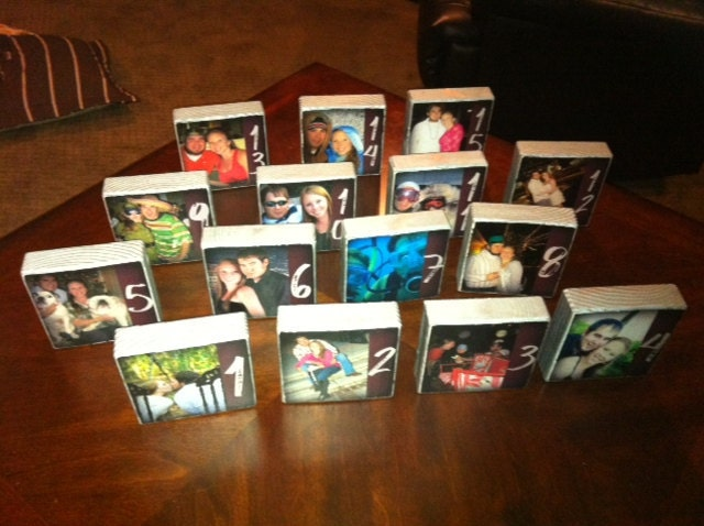 Set of 15 Personalized wedding table numbers- custom favors- medium size photo blocks