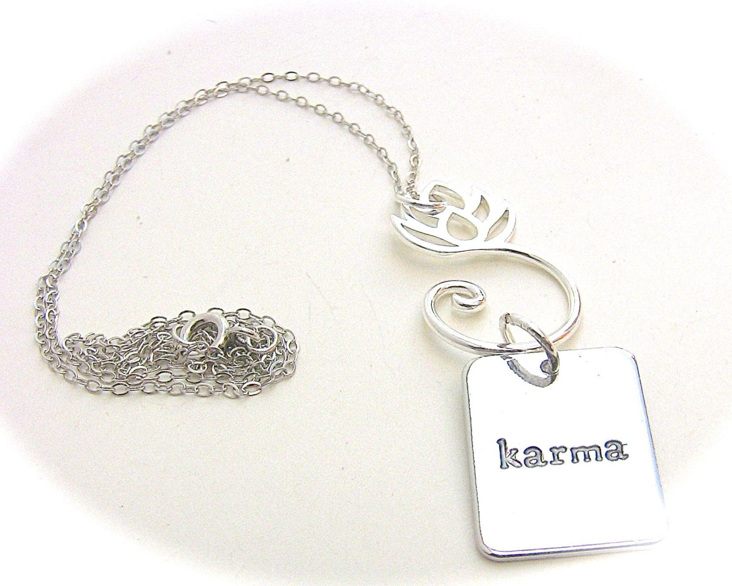 Karma Charm Necklace, Lotus Flower Pendant, Silver Yoga Jewelry - BayMoonDesign